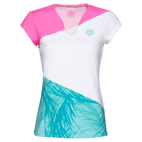 Bella 2.0 Tech V-Neck Tee - pink white mint